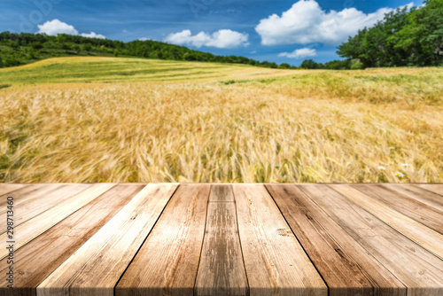 Obraz Wooden Board Product Display Montage or Background. Organic Food Produce Theme - fototapety do salonu