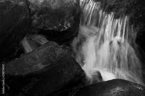 Wall Murals Forest river Waterfall in black and white