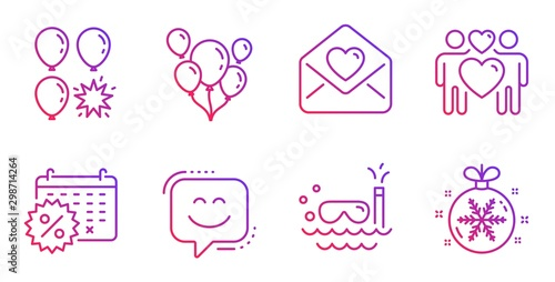 Balloons, Smile face and Balloon dart line icons set Wallpaper Mural