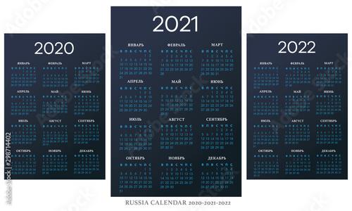 Russian Calendar 2020-2021-2022 vector template Fototapeta