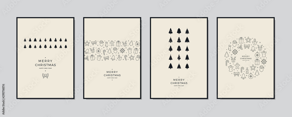 Fototapeta Merry Christmas greeting card text lettering set beige background vector.