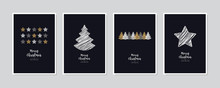 Merry Christmas Greeting Card Set Text Lettering Blue Background Vector.