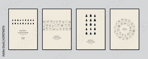 Fotografía  Merry Christmas greeting card text lettering set beige background vector