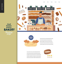 Bakery -small Business Illustrations -landing Page Design Template -modern Flat Vector Concept Illustration Of Bread Shop Web Page Design -vendor At The Counter, Bread, Kneading The Dough, Sieve, Eggs