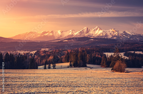 Foto auf Gartenposter Lachs Beautiful spring panorama over Spisz highland to snowy Tatra mountains in the morning, Poland