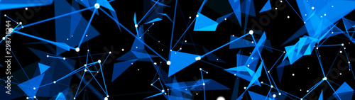Digital plexus of glowing lines, dots and triangles. Abstract background. 3D rendering. Network or connection.
