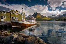 Wooden Icelandic Fishing Boat In Siglufjörður Bay