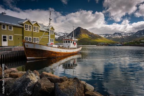 Wooden Icelandic fishing boat in Siglufjörður bay #298718488