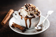 Hot Chocolate In Cup With Whip...