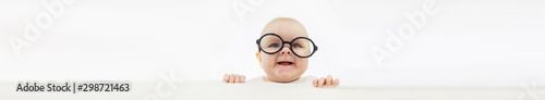 Obraz Baby and emotions. Little baby and place for text. Long poster. - fototapety do salonu