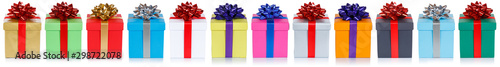 Group of christmas presents birthday gifts in a row isolated on white Wallpaper Mural