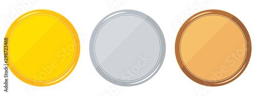 Fototapeta Round blank templates set gold, silver, bronze isolated on white background. obraz