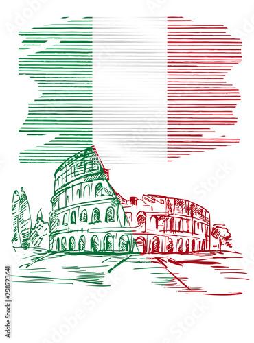 Fototapeta Ilustracja przedstawiająca flagę Wloch z przykładowym zabytkiem architektonicznym obraz