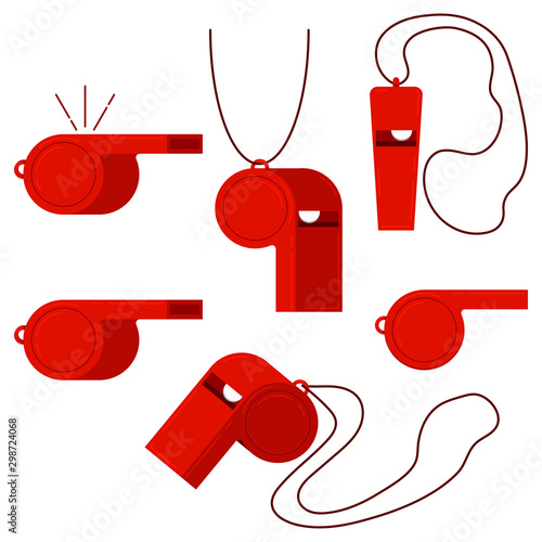 Valokuva Red plastic sport referee whistle vector icon set isolated on white background