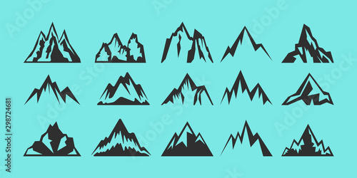 Montage in der Fensternische Reef grun Set of rocks and mountains silhouettes for logo, icons, badges, and labels. Camping, climbing, hiking, travel and outdoor recreation sign, symbol. Vector illustratio