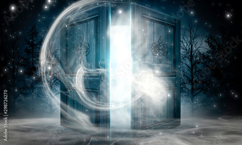 Open doors. Abstract light. Night view, magic fantasy, smoke, smog, neon. Dark forest. Abstract dark background. Old wooden doors.