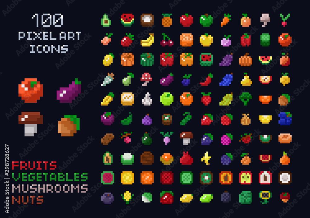 Pixel art vector game design icon video game interface set. Fruits, vegetables, mushrooms, nuts. Isolated retro arcade game design <span>plik: #298728627   autor: gdainti</span>