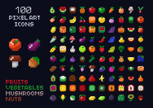 Pixel Art Vector Game Design Icon Video Game Interface Set. Fruits, Vegetables, Mushrooms, Nuts. Isolated Retro Arcade Game Design