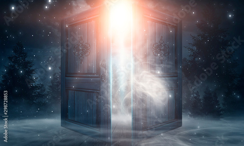 mata magnetyczna Open doors. Abstract light. Night view, magic fantasy, smoke, smog, neon. Dark forest. Abstract dark background. Old wooden doors.