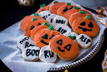 Halloween Pumpkin Cookies And RIP BOO Cookies