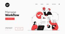 Presentation Slide Template Or Landing Page Website Design. Business Concept Illustrations. Modern Flat Outline Style. Workflow Management