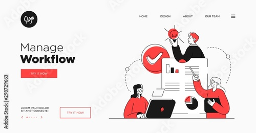 Presentation slide template or landing page website design. Business concept illustrations. Modern flat outline style. Workflow management