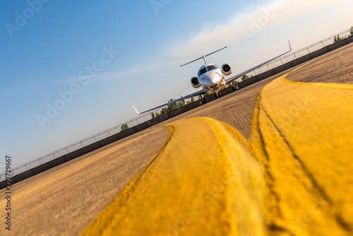 Business private jet airplane on airfield Canvas-taulu