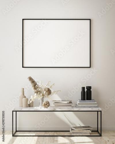Poster Pierre, Sable mock up poster frames in modern interior background, living room, Scandinavian style, 3D render, 3D illustration