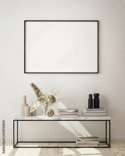 Fotografía  mock up poster frames in modern interior background, living room, Scandinavian s