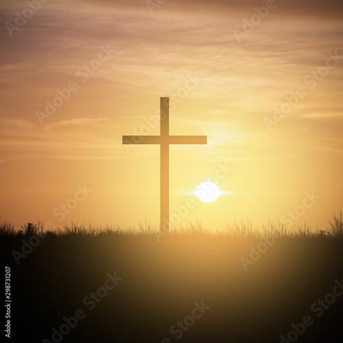 christian cross at sunset sky Canvas Print