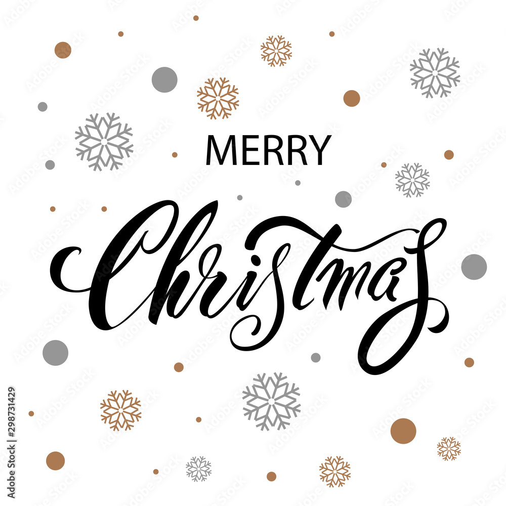 Fototapeta Merry Christmas. Vector text Calligraphic Lettering design card template with snowflakes. Creative typography for Holiday Greeting Gift Poster. Calligraphy Font style Banner.