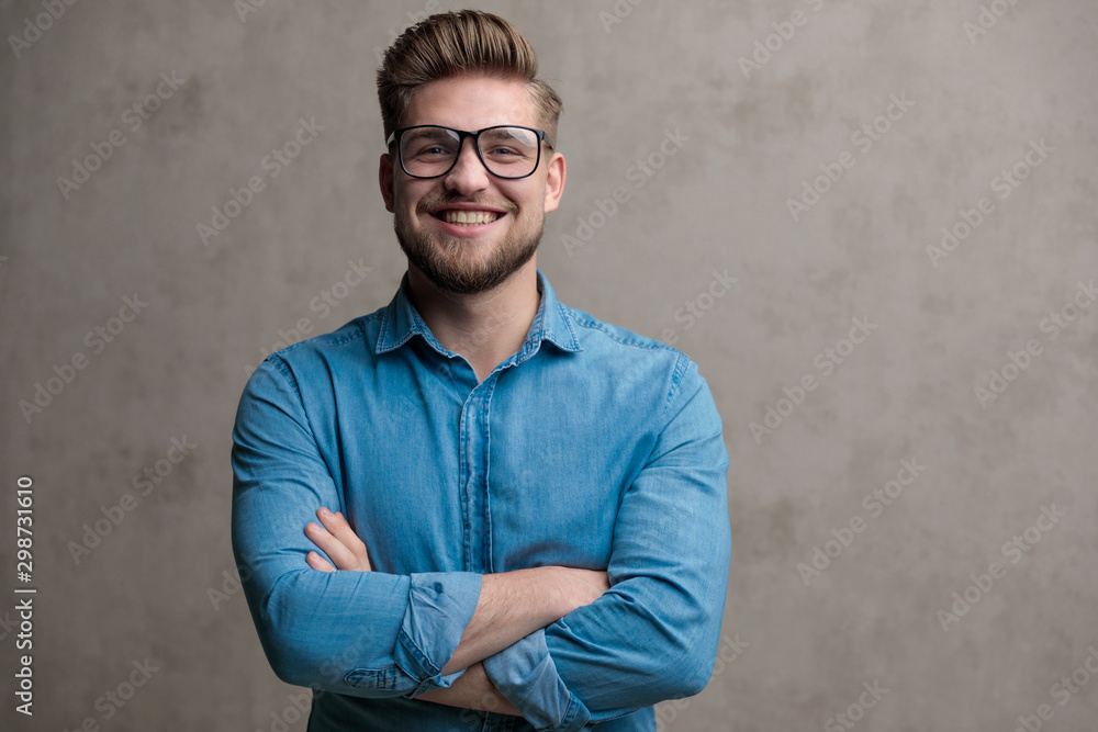 Fototapety, obrazy: Confident casual smiling with his arms crossed at his chest