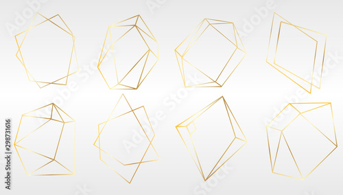Vector set of luxury golden crystal shapes Wallpaper Mural