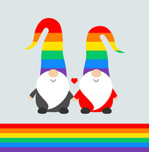 Christmas Pride Celebration Party Funny Greeting Card With Cute Santa Elves Gnomes In Rainbow Hats, And Rainbow Flag. Vector Pride Illustration