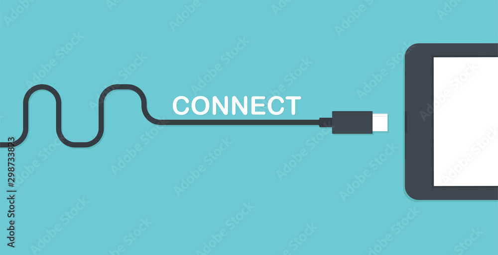 Fotografía Mobile smartphone charging. Connection concept.