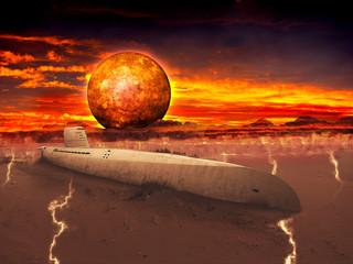Unterseeboot in der Wüste