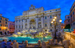 canvas print picture - Night view of Rome Trevi Fountain (Fontana di Trevi) in Rome, Italy. Trevi is most famous fountain of Rome. Architecture and landmark of Rome