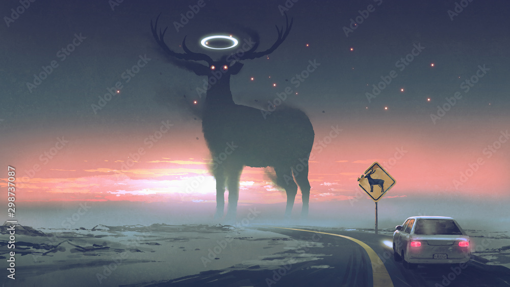 Fototapeta a legendary creature concept showing a car running into animal zone, the giant deer with glowing halo on the road, digital art style, illustration painting..