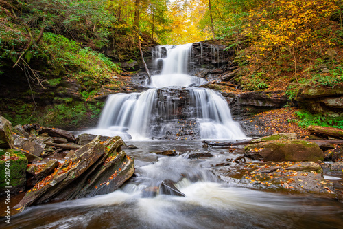 Autumn Forest Waterfall Flowing Cascade