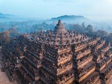 Aerial View Of Borobudur World Biggest Buddhist Temple