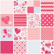 Patchwork Quilt With Hearts And Geometric Ornaments. Seamless Pattern. Romantic Design In Pink Colors.