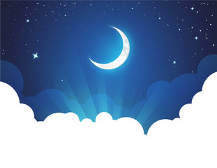 Night with Moon and Stars - Vector placard illustration with copy space at bottom. Flyer with Moonlight night for illustration of fairy tale, fantasy or calendar events.