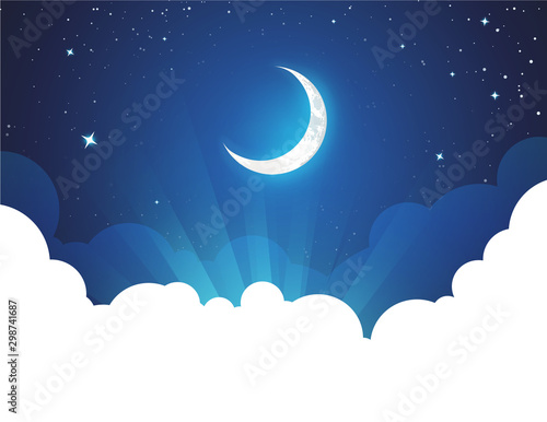 Fototapeta Night with Moon and Stars - Vector placard illustration with copy space at bottom. Flyer with Moonlight night for illustration of fairy tale, fantasy or calendar events. obraz