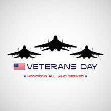 Veterans Day Poster With USA F...