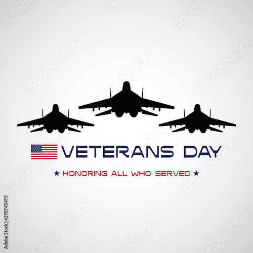 Pinturas sobre lienzo  Veterans day poster with USA flag and fighter jets