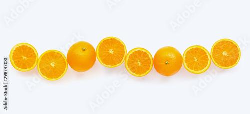 Fresh orange citrus fruit with leaves isolated on white background. - 298747081