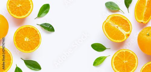 Fresh orange citrus fruit with leaves isolated on white background. - 298747465