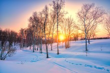 Red Sunset In Frozen Winter Fo...