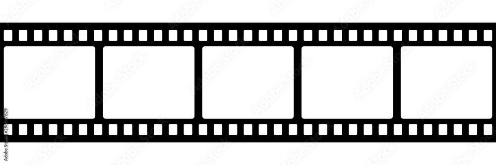Fototapety, obrazy: Film strip isolated vector icon. Retro picture with film strip icon. Film strip roll. Video tape photo film strip frame vector.