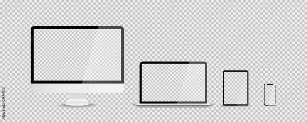 Fototapeta Devices in realistic trendy design on transparent background. Set of computer laptop tablet and smartphone with empty screens. Mock up. Blank screen isolated.